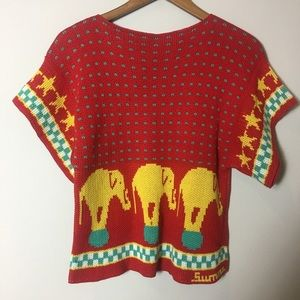 Tops - Small Red Vintage BOHO Top with Elephant Patterns